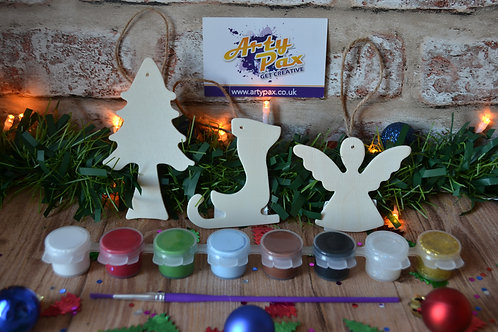 Paint Your Own 3 Wooden Christmas Tree Decoration Kit