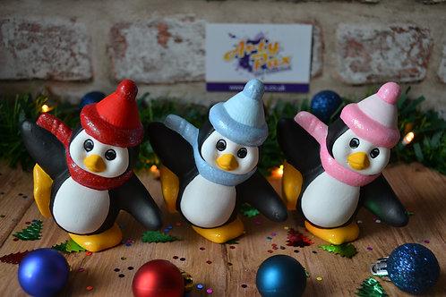 Hand Painted Christmas Bobble Hat Penguin Ceramic Figure