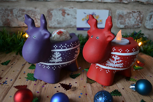 Hand Painted Ceramic Reindeer Tea Light Holder Christmas Figure