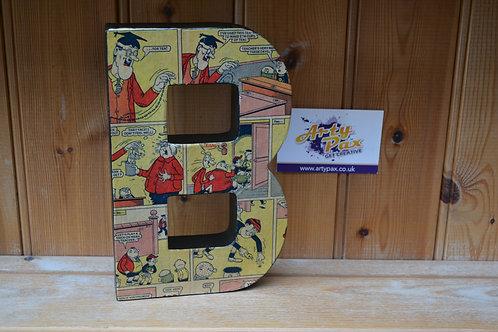 Handmade Beano Comic Letter B