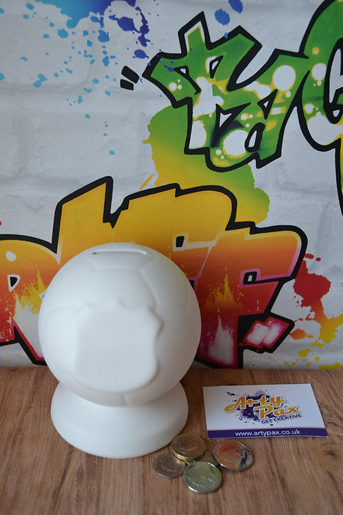Ready To Paint Football Ceramic Money Bank With Stopper
