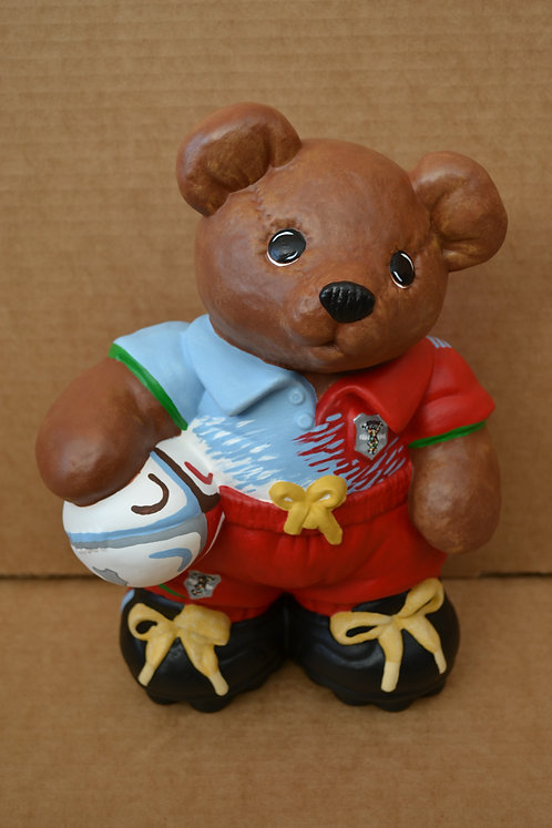 Hand Painted Custom Rugby Bear Ceramic Figure