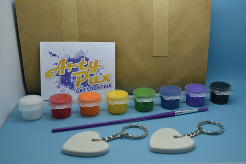 Paint Your Own Love Heart Keyring Pair Kit