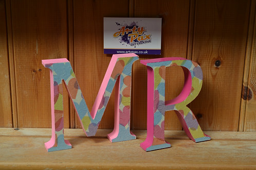 Personalised Confetti Heart Themed Wooden Letters