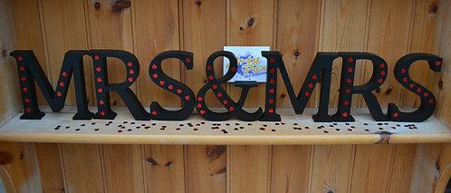 Wooden Black Hearts Mr & Mrs, Mrs & Mrs or Mr & Mr Set