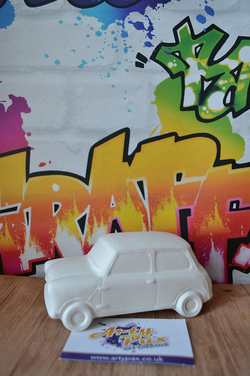 Ready To Paint Mini Car Ceramic 3D Freestanding Vehicle