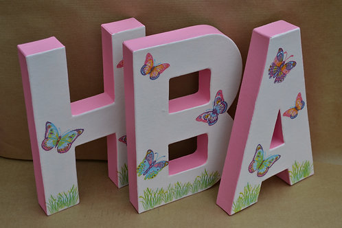 Personalised Large Pink Butterfly Letters