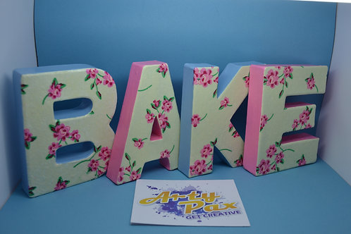 Personalised Kitchen Bake Cook Cake Floral Letters