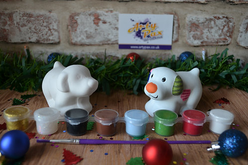 Paint Your Own Snowy Dog Ceramic Figure Kit