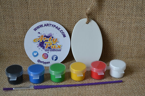 Paint Your Own Ceramic Oval Keyring Kit