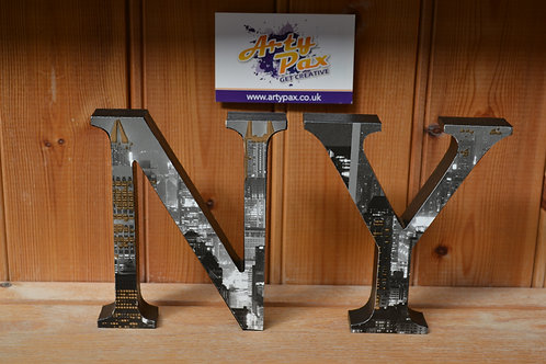 Personalised New York Cityscape Themed Wooden Letters
