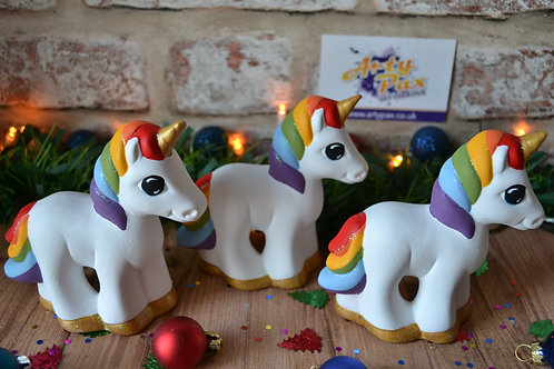 Hand Painted Rainbow Unicorn Ceramic Figure Decoration Freestanding