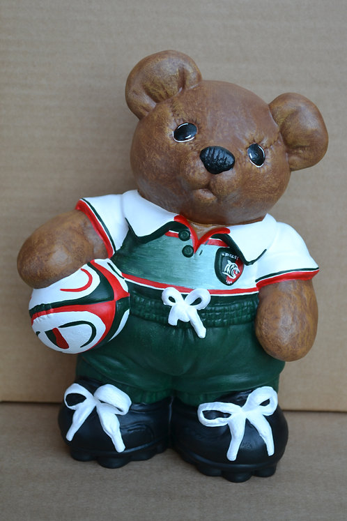 Hand Painted Leicester Rugby Bear Ceramic Figure