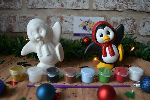 Paint Your Own Christmas Penguin With Scarf Kit