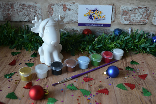 Paint Your Own Christmas Sitting Reindeer With Santa Hat Kit