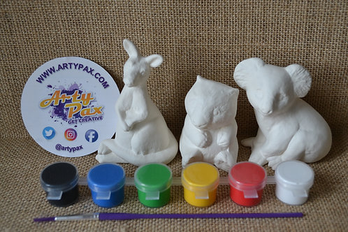 Paint Your Own Australian Animals Set of 3 Kit