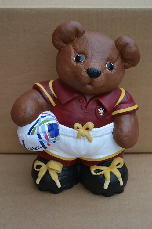Hand Painted Wales Rugby Ceramic Figure