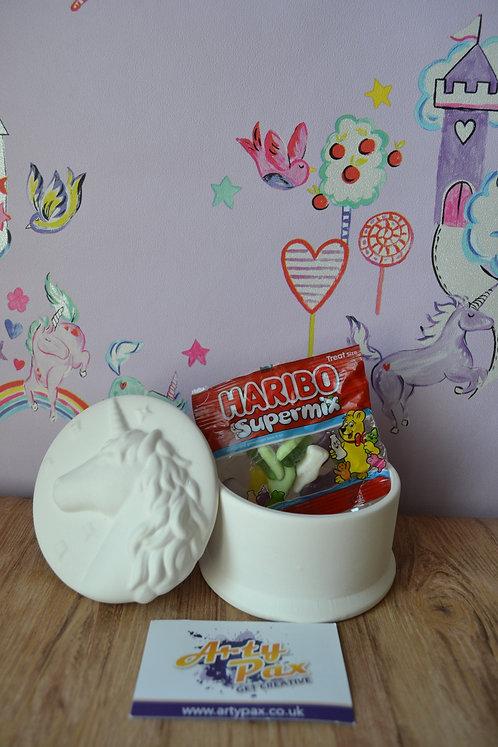 Ready To Paint Unicorn Ceramic Trinket Jewellery Box
