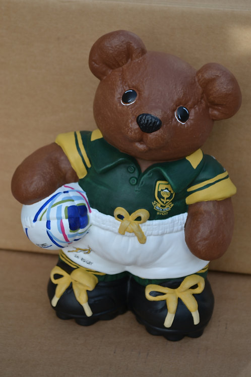 Hand Painted South Africa Rugby Bear Ceramic Figure