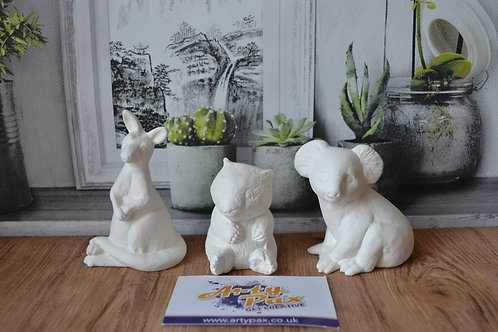 Ready To Paint Australian Animals Ceramic Set of 3 Kangaroo Koala & Wombat