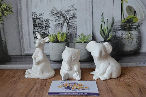 Ready To Paint Australian Animals Ceramic Set of 3 Kangaroo Koala & Wombat