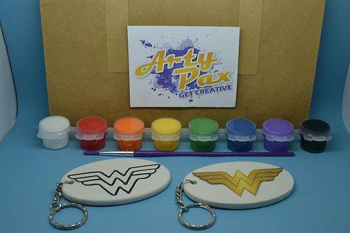 Paint Your Own Ceramic Wonder Superhero Woman Keyring Kit