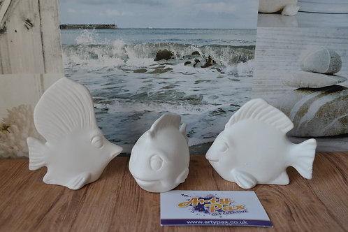 Ready To Paint Tropical Fish Set of 3 Ceramic 3D Freestanding Figures