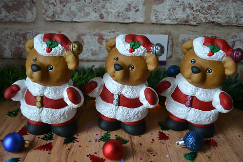 Hand Painted Santa 'Paws' Christmas Bear Ceramic Figure Decoration