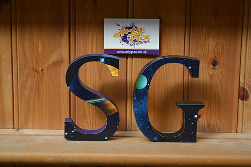 Personalised Space Galaxy Themed Wooden Letters