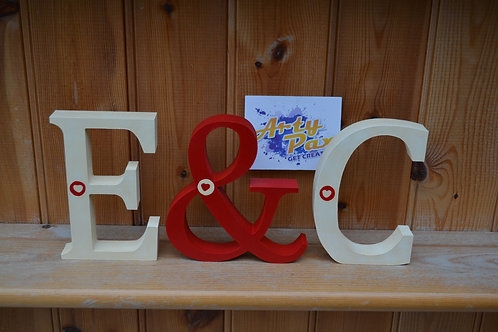 Personalised Wooden Initials Cream and Red Hearts Set