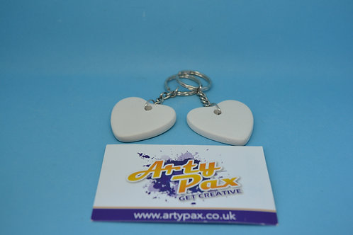 Ready To Paint Pair of Love Ceramic Heart Keyrings