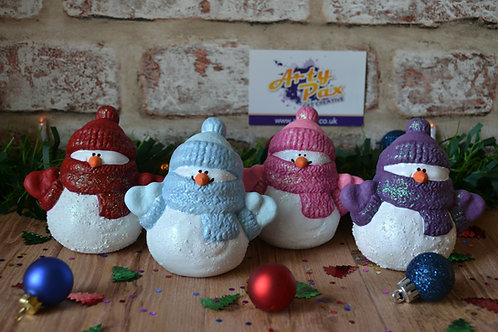 Christmas Bobble Hat Snowman Hand Painted Ceramic Figure