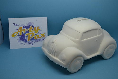 Ready To Paint Ceramic Car Money Bank With Stopper To Base