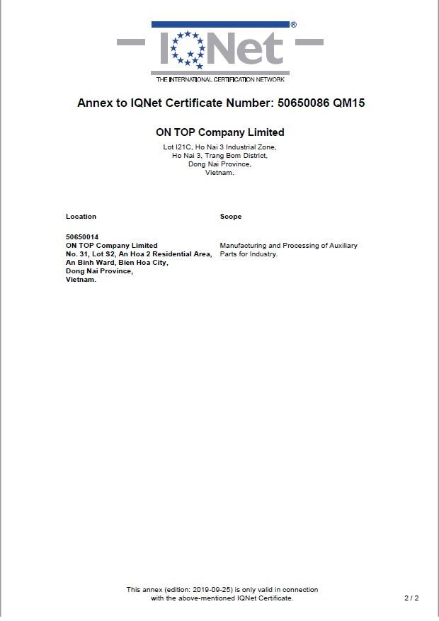 Certificates Ontops Company
