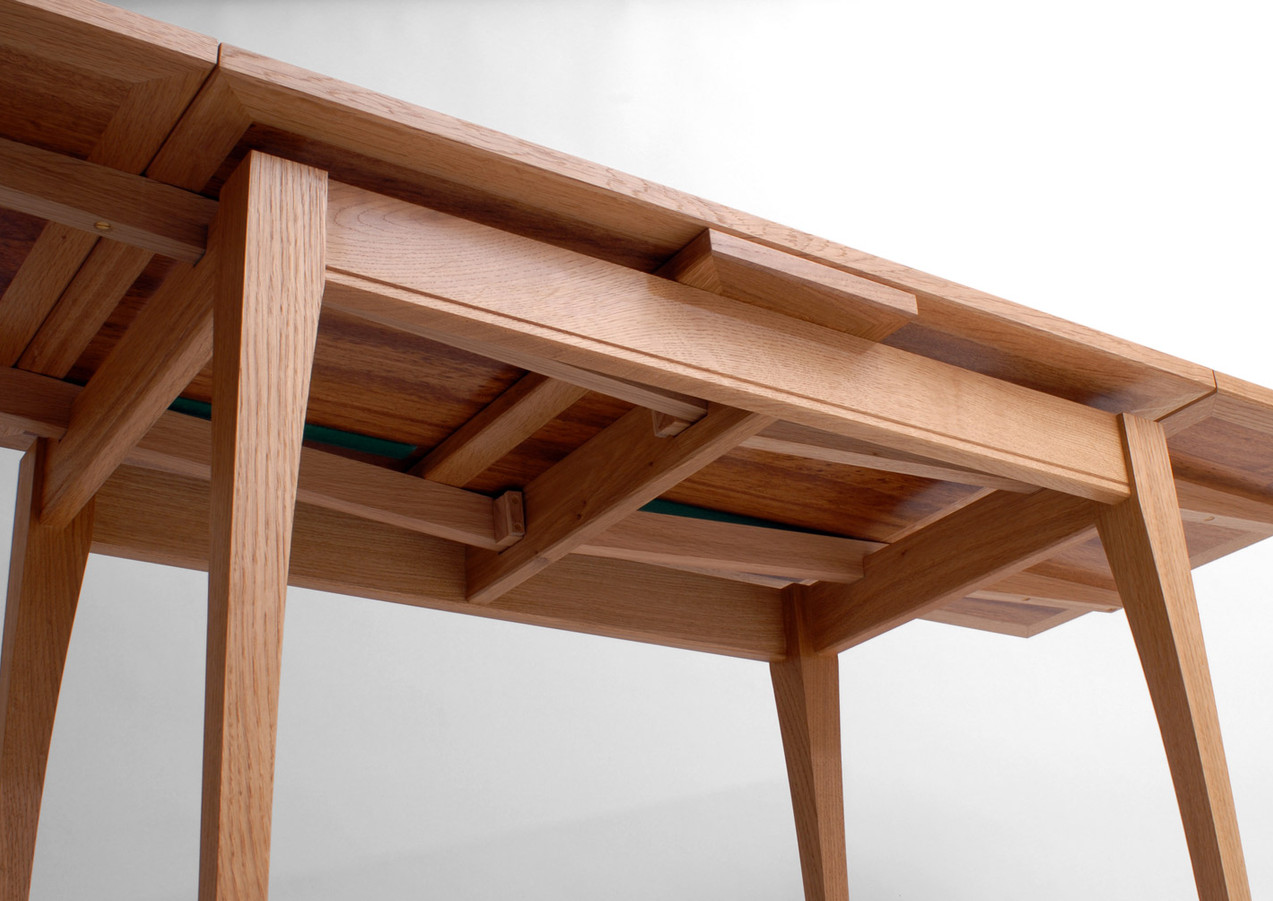 Underside view of the table mechanics.
