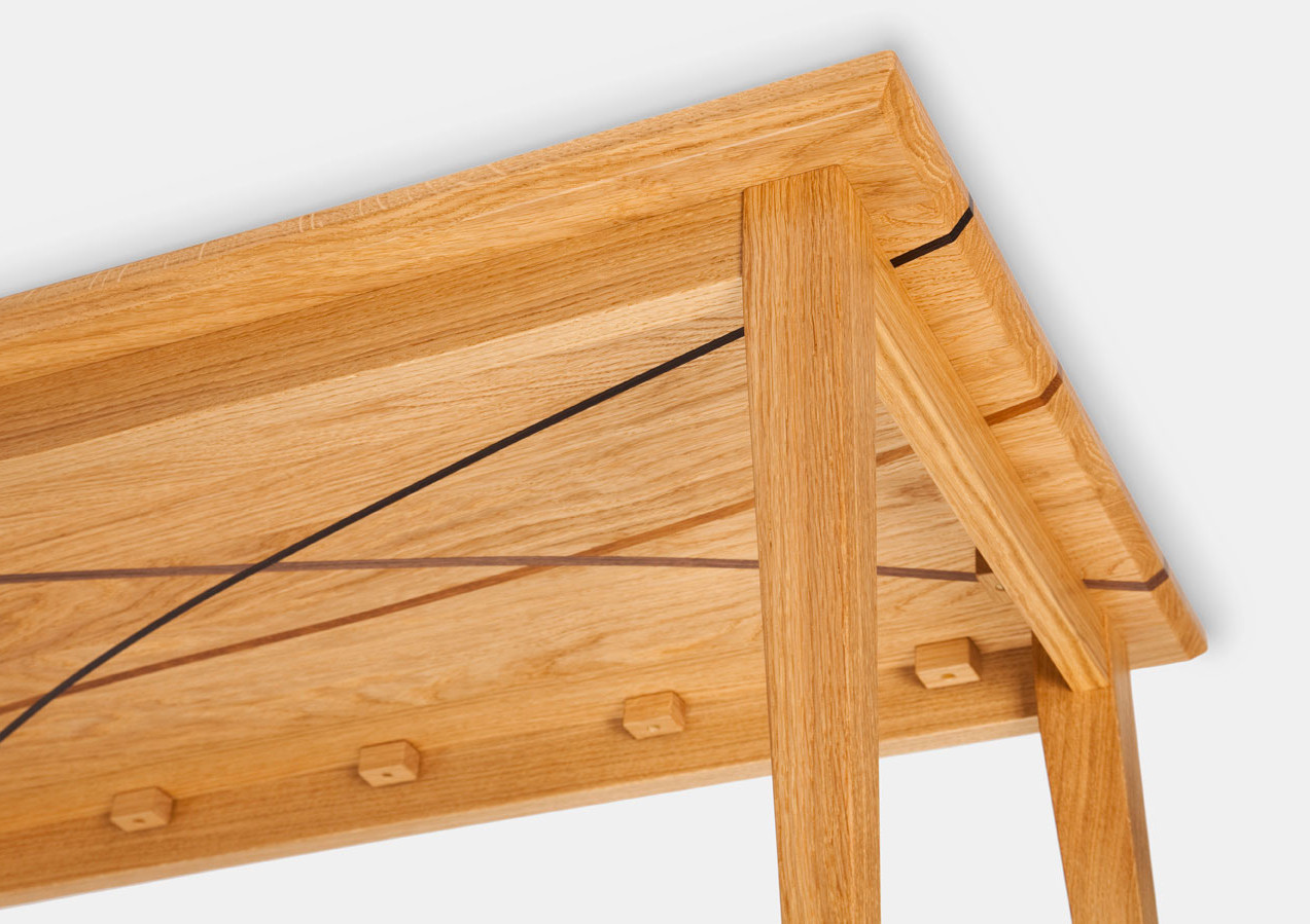 Underside of oak coffee table