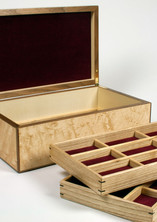 Handmade jewellery box with lift out trays