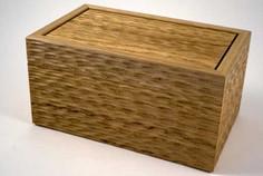 Sculptured surface oak jewellery box