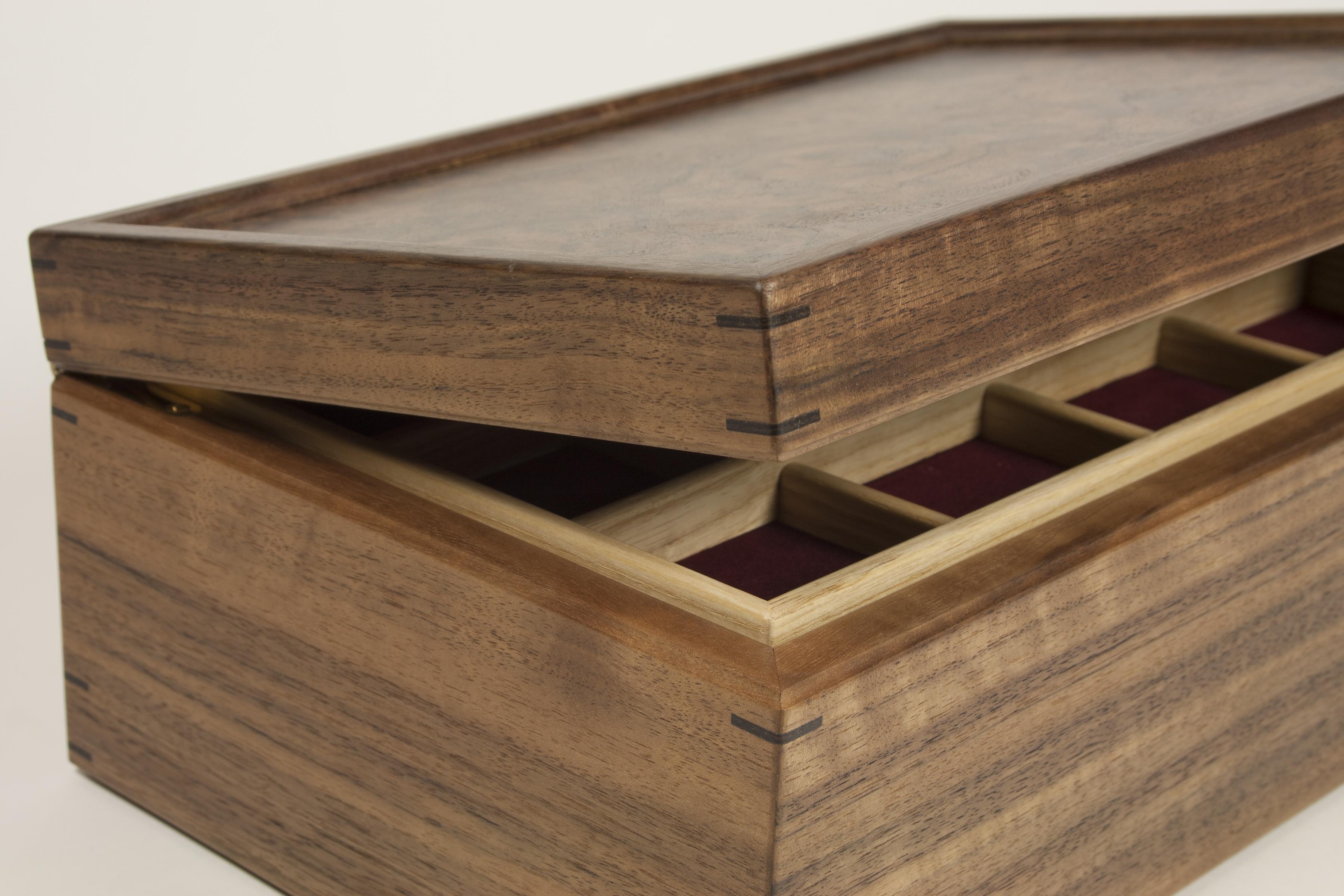 Walnut burr mitre jewellery box