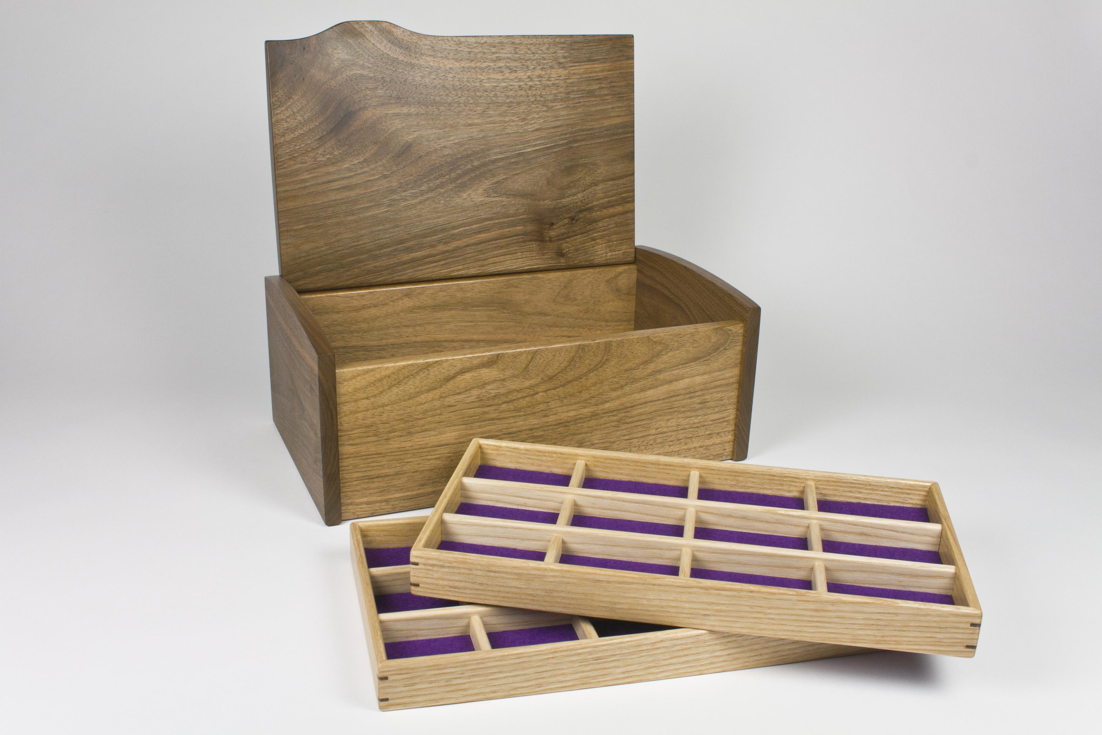 Walnut jewellery box and two trays