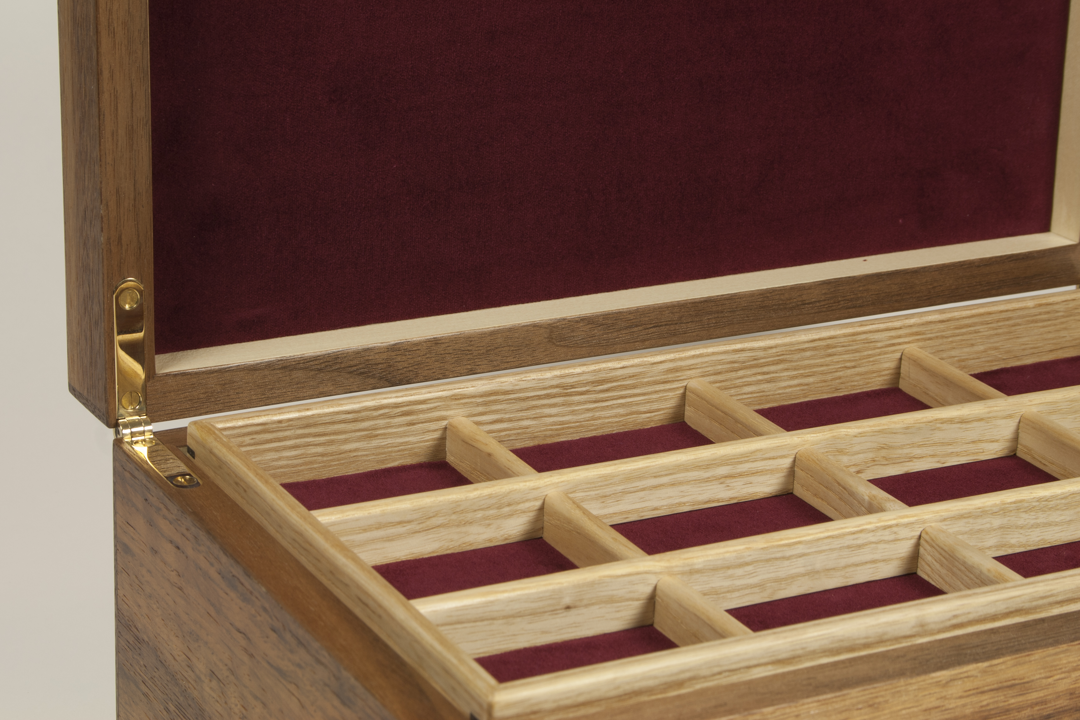 Close up of brown oak jewellery box