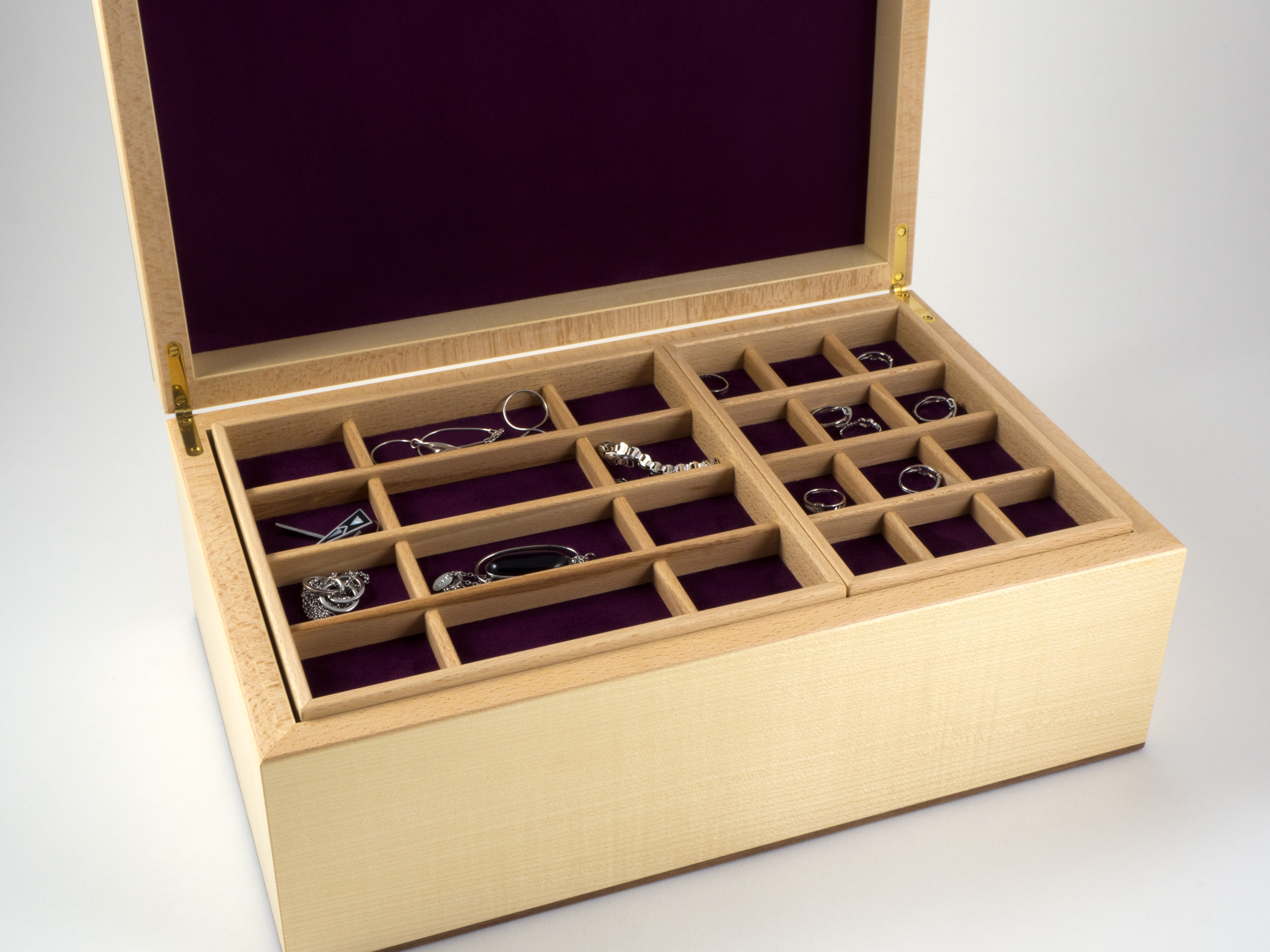 Sycamore and walnut jewellery box