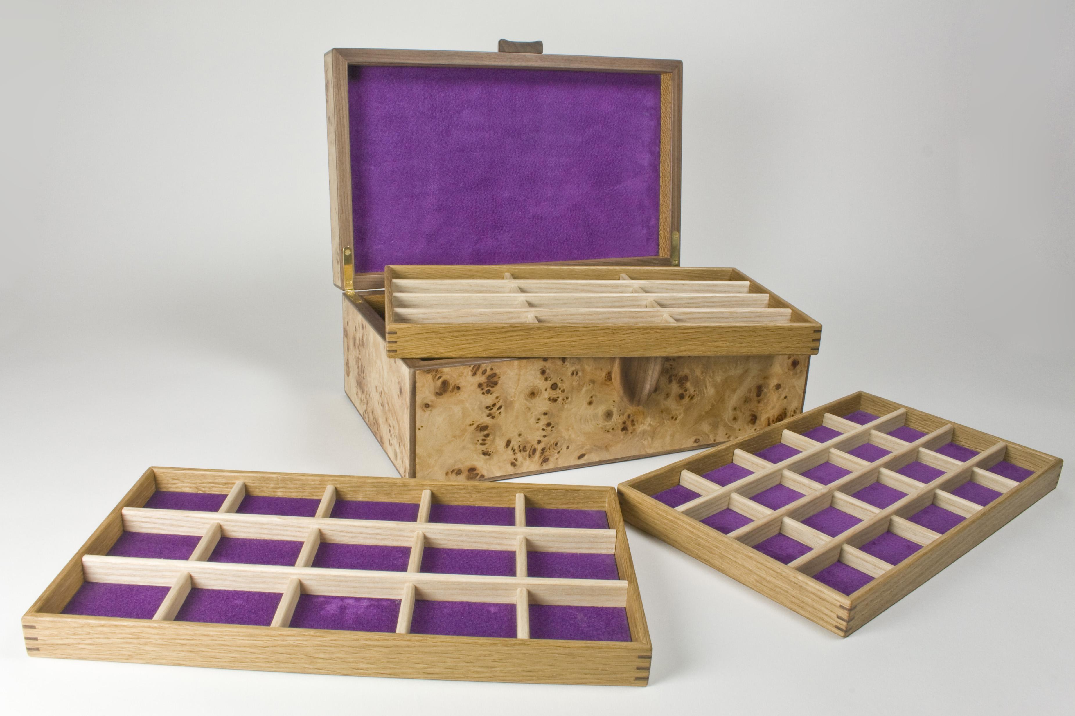 Poplar burr jewellery box and trays