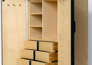 Jewellery cabinet with curved doors