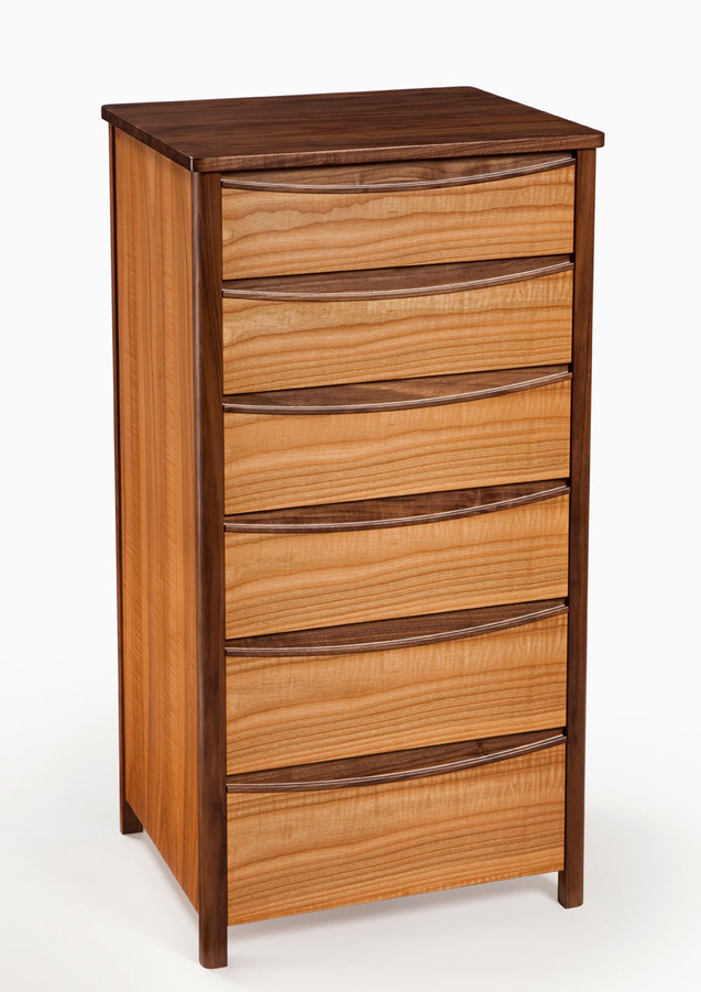 Chest of drawers made from ripple cherry and black walnut.