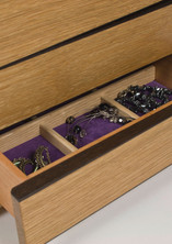 Oak jewellery chest with drawers