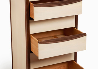 Chest of drawers made from sycamore and American black walnut.