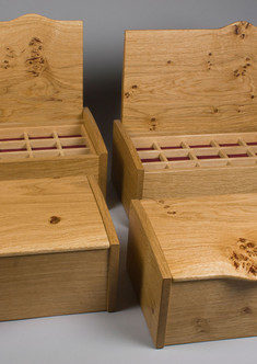 Four jewellery boxes from one plank of oak