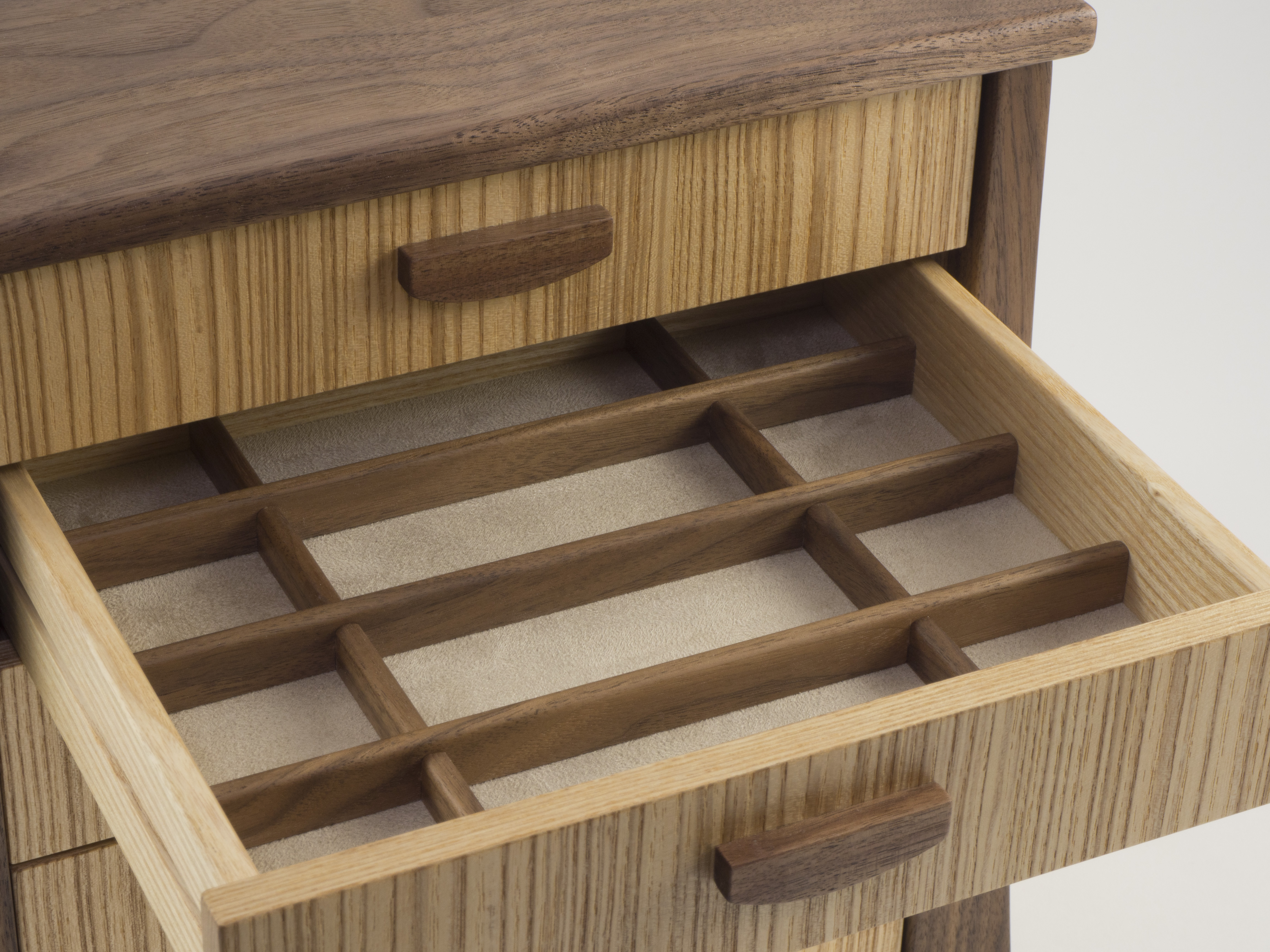 Open drawer in jewellery chest