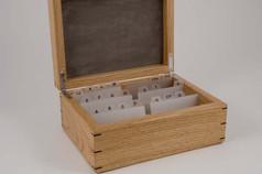 Oak business card box